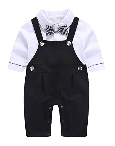 MetCuento Baby Boy Clothes Formal Gentleman Outfit Long Sleeve Romper Wedding Birthday Party Bowtie Onesie Suspenders Dress Suit Black 3-6 Months