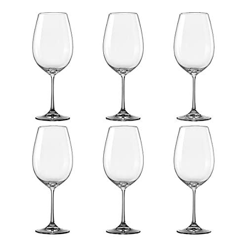 Set 6 Copas de Vino de Cristal, Copas de Vidrio para Vino y Agua, para Uso en Casa, Restaurante y Fiestas (45cl)