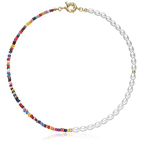 Bohemian Pearl Bead Choker Necklace for Women Handmade Chain Colorful Beaded Necklaces for Teen Girls Jewelry