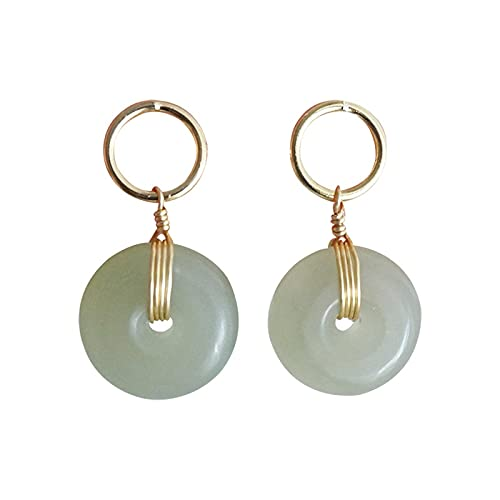 YUNHE Joyería de Jade Natural Pendiente de Gota de Oro Amarillo de 14 K para Mujer Piedra Preciosa Esmeralda Pendiente de Granate de Oro de 14 K Mujer