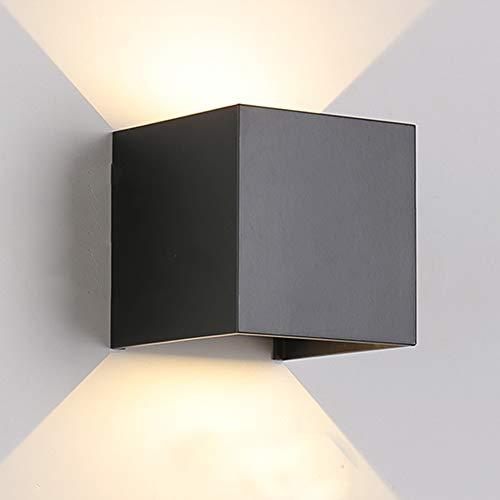 Wandleuchte Innen / Aussen Modern ,LED Wandbeleuchtung mit einstellbar Abstrahlwinkel Design, IP 65 Wasserdichte außenleuchte WandLampe 3000K Warmweiß (7W Schwarz)