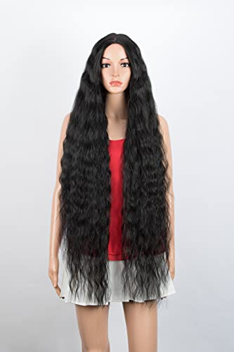"""Joedir 40"""" Super Long Curly Middle Part Synthetic Wigs with Baby Hair Simulated Scalp Heat Resistant Synthetic Wig for Women 130% Density(Black Color)"""