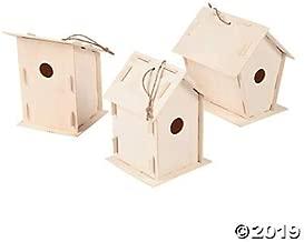 DIY Wooden Birdhouse Kits (Bulk Set of 12) Unfinished Paintable Bird House for Kids