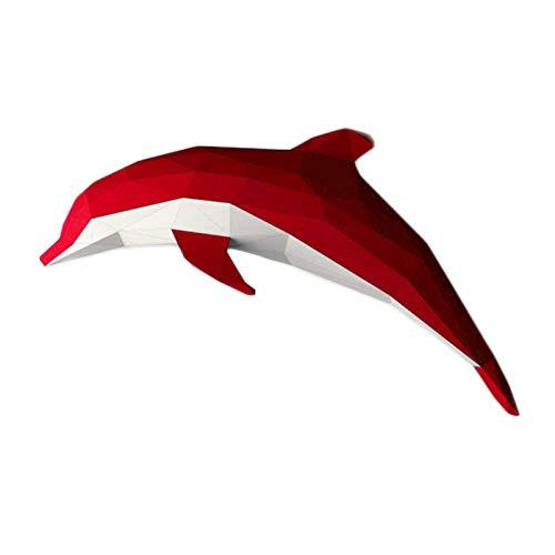 WLL-DP Exquisito Dolphin 3D Escultura De Papel Papel Precortado para Manualidades Papel De Juguete Modelo De Papel Animal Hecho A Mano DIY Geométrico Origami Puzzle Decoración De Pared,Rojo