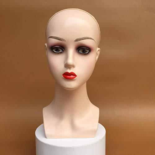 Amagogo Peluca de Mujer Que Hace Maniquí Cabeza Tupé Joyería Pendiente Modelo de Exhibición Maniquí - Labios rojos