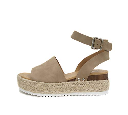 SODA Topic Open Toe Buckle Ankle Strap Espadrilles Flatform Wedge Casual Sandal (8, Dark Natural)