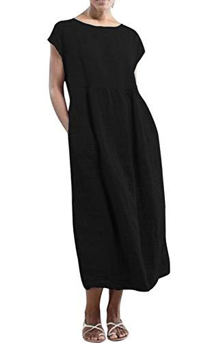 MAGIMODAC Shirtkleid Leinenkleid GR.36-50 Baumwolle Tunika T Shirt Kleider Freizeitkleid Sommerkleid Lang Ärmellos mit Taschen (Etikett XL/EU 42, schwarz)