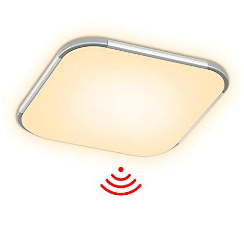Aufun LED Deckenleuchte mit Bewegungsmelder 24W 2400lm Radar Sensor Deckenlampe, IP44 Wasserfest Leuchte für Flur, Treppe, Veranda, Garage, Carport, Balkon, Abstellraum, Keller, 30x30 cm