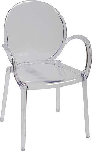 Destock Meubles - Sedia a medaglione, in policarbonato, colore: Trasparente