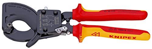KNIPEX 95 36 250 Kabelschneider Ratschenprinzip isoliert mit Mehrkomponenten-Hüllen, VDE-geprüft 250 mm