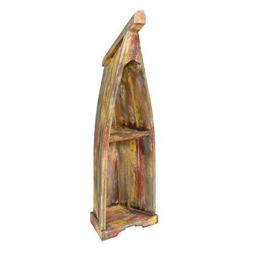 Oriental Galerie Bootsregal mit Steg Boot Regal Standregal Aufbewahrung Maritim Urlaub Albesia Holz Multicolor ca.93-98cm - Klein