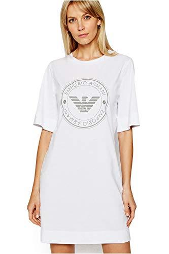 Emporio Armani Underwear Night Dress Sustainable Cotton Bata de Noche, White, S para Mujer