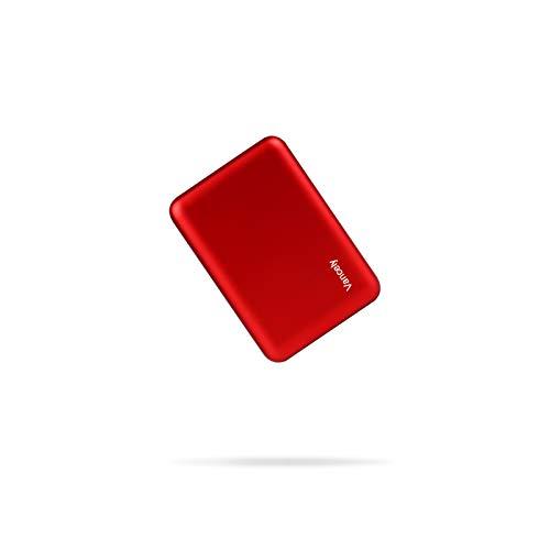 Batterie Externe 10000mAh Mini,Vancely Power Bank Chargeur Portable 2 Ports USB Sortie 5V/4.8A,Portable Ultra Chargeur Le Plus Léger Poids pour iPhone 12/11/X/8/7/6S/6,iPad,Huawei,Samsung,etc.- Rouge