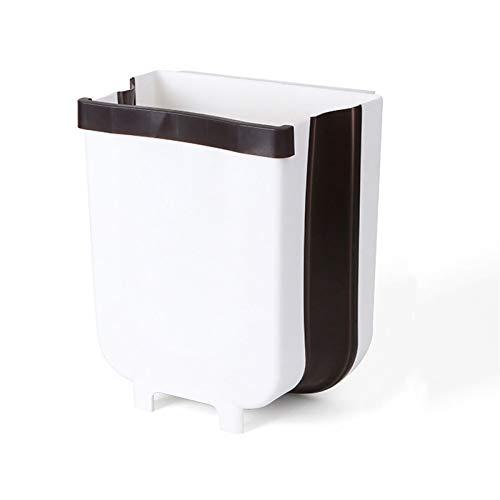 XIAO-XIN 9L Montado Plegable Bols de residuos Puerta de la Cocina Puerta Colgante Papelera de basura Coche Basura Basura Can Para Aseo Aseo De Baño (Color : White large)