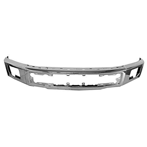2015-2017 Ford F150 Front Bumper Face Bar; Chrome; For Use Without End Caps; With Fog Lights; Made Of High Strength Steel; [Fo] Partslink FO1002422