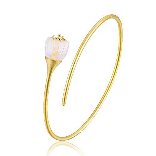 Lotus Fun S925 Sterling Silber Armreif Frische Orchideenblume Armreif Natürlicher Kristall Handgemachter Einzigartiger Schmuck für Frauen und Mädchen (Gold)