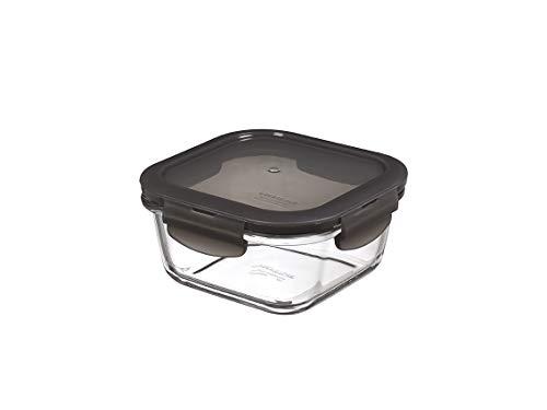 LockULock Oven Glass Glas Frischhaltedose mit Deckel 500ml, 140 x 140 x 67mm, Viereckig, Kühlschrank-, gefriertruhen- und spülmaschinengeeignet, Borosilikat-Glas bis 400°C ofen- & mikrowellenfest