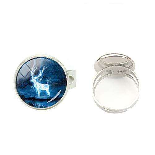 Hochwertiger handbemalter Kunstschmuck verstellbarer Ring Anel Hogwarts Wappen Vintage Heiligtümer des Todes Steampunk Bague Ringe Herren Glas Rund Ring