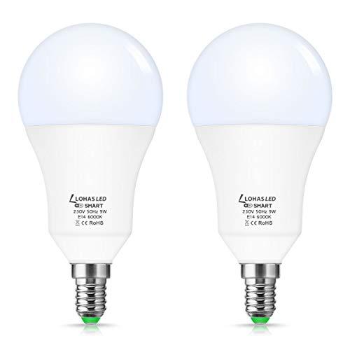 Lampadine LOHAS LED E14 SES Smart Alexa, Lavora con Amazon Alexa, Google Assistant, Siri e IFTTT, Temporizzazione, Telecomando per telefono, Lampadina WiFi LED bianca da 9W Day, Confezione da 2
