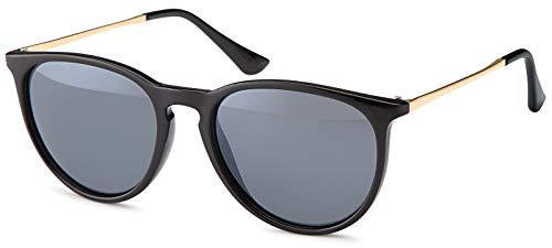 styleBREAKER Sonnenbrille mit großen ovalen Gläsern und Metall Bügel, Damen 09020085, Farbe:Gestell Schwarz / Glas Grau getönt