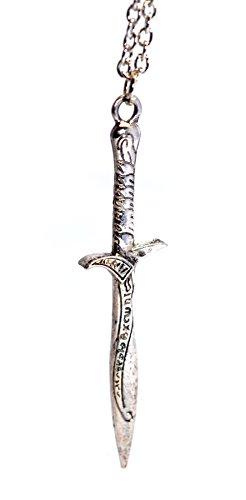 El Hobbit Bilbo Baggins Vintage de plata antigua espada ropera Colgante Collar Colgante de Fantasía Mágica de El Señor de los anillos