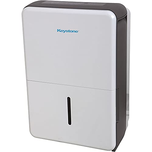 KEYSTONE 50 Pint Dehumidifier   LED Display   24H Timer Shut-Off   Auto-Restart   Water-Level Indicator   Wheels   for Basement, Bathroom, and Rooms up to 4,500 Sq. Ft   KSTAD504E, pt, White