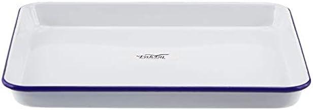 Falcon Enamelware Baking Tray Baking Tray, Large, White with Blue Rim, FE2842W