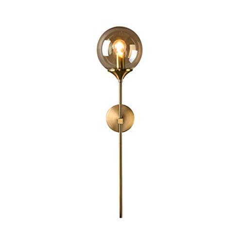 Lámpara de pared de bola de vidrio concisa moderna, lámpara de pared individual creativa de estilo nórdico, iluminación de pared dorada con enchufe E27, para estudio de pasillo, cubierta de hollín de