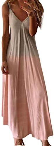 Shakumy Dresses for Women Casual Women s Gradient V Neck Long Maxi Dress Sleeveless Plus Size product image