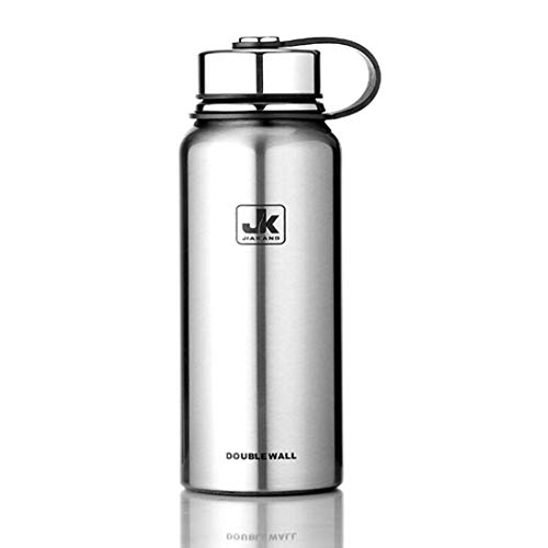 Thermos cup Cllozd 610ml Outdoor Vacuum Stainless Steel Heat Insulation Cup Portable Large Capacity Sports Bottle(Black) (Color : Silver)