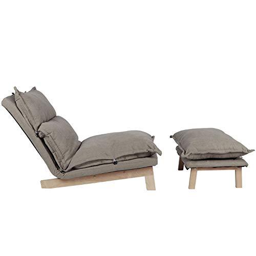 Divano reclinabile e lavabile, schienale regolabile su 5 altezze, comoda poltrona reclinabile in Tatami Domestici, con poggiapiedi (grigio)