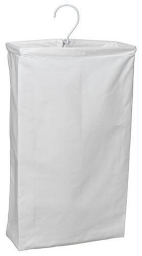 Household Essentials 148 Hanging Cotton Canvas Laundry Hamper Bag | White