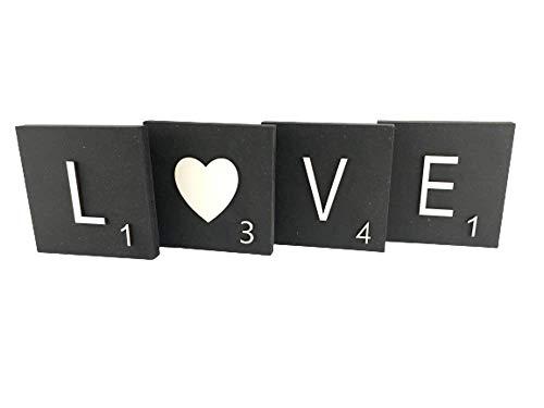 Letras de madera grandes decorativas tipo Scrabble, personalizadas, para decoración interior, pared,...