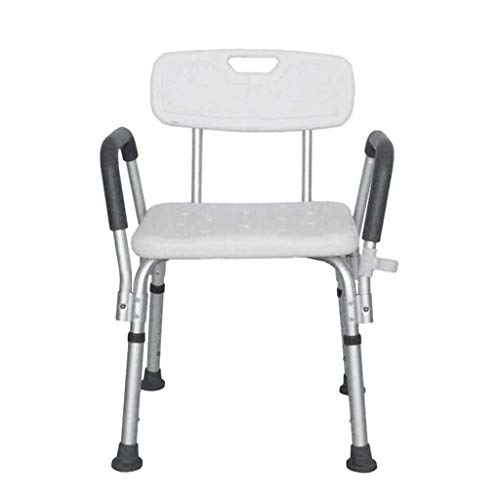 Find Bargain RDMZ Height Adjustable Perching Shower Stool with Arms and Padded Back, Bathing Chair Aid for Elderly, Disabled Bath Seat Bench