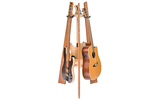 Ruach GR-1 Premium Wooden 3 Way Multi Guitar Stand Display Rack - Mahogany