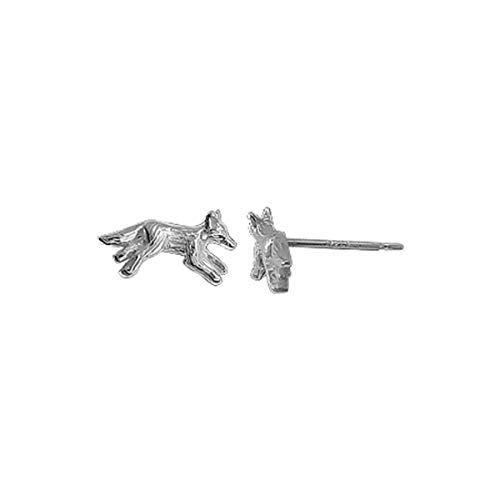 Boma Jewelry Sterling Silver Wolf Stud Earrings