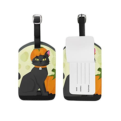 Halloween Gato Luna Viaje Etiqueta del Equipaje con la Tarjeta de la ID del Nombre Etiquetas de la Maleta para Niños Niñas(3PACK)