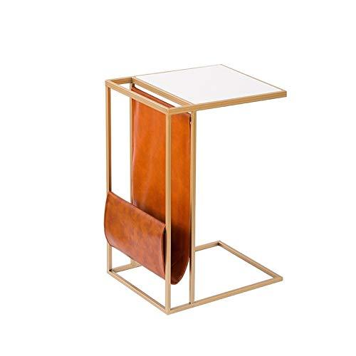 BZ-ZK Tavolo Laterale Moderno, Legno/Pu Leather/Metal C Shape Table Side Table Hotel Sofa Tavolo Multifunzione Tavolo da Presa/Laptop(Size:45 * 33 * 53CM,Color:Bianca)