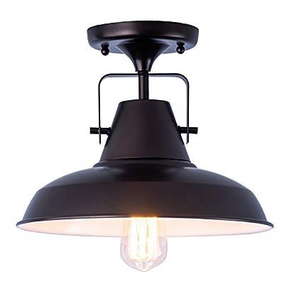 Industrial Close to Ceiling Lights,Vintage Matte Black Shade Metal Pendant Light,Semi Flush Mount Ceiling Lamp Fixture for Kitchen Restaurants,10in,1 Pack