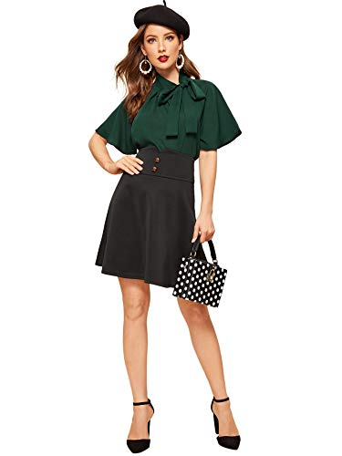 SheIn Women's Casual Side Bow Tie Neck Short Sleeve Blouse Shirt Top Large Dark Green