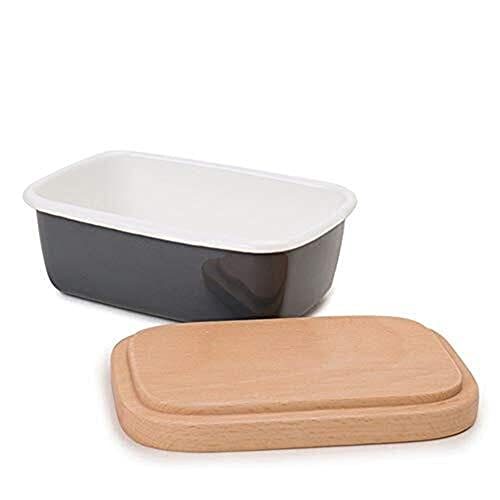 JZUKU Lunch Box kids Butter Box Dishes Enamel Butter Container Plates Tray With Wooden Lid Cover Black White Storage Box Lunchbox With Compartment (Color : B)
