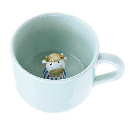 FakeFace Kreative Keramik Tasse mit Löffel 3D Tier Kaffeetasse Teetasse Kaffee Tee Funny Mug Cup Tasse Becher Coffee Mugs wunderbares Geschenk für Weihnachten/Geburtstag/Gedenktag-Kuh