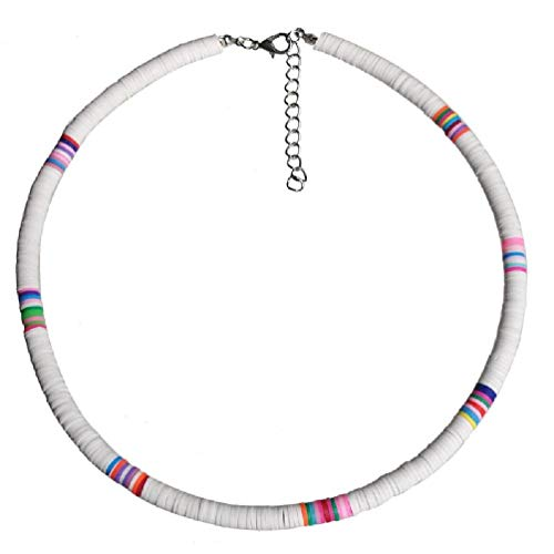 Bohemian Beach Colorful Clay Beaded Choker Boho Rainbow Polymer Clay Necklace Jewelry for Women Girls Adjustable necklaces for women set necklace holder necklace extenders necklace chain necklaces for