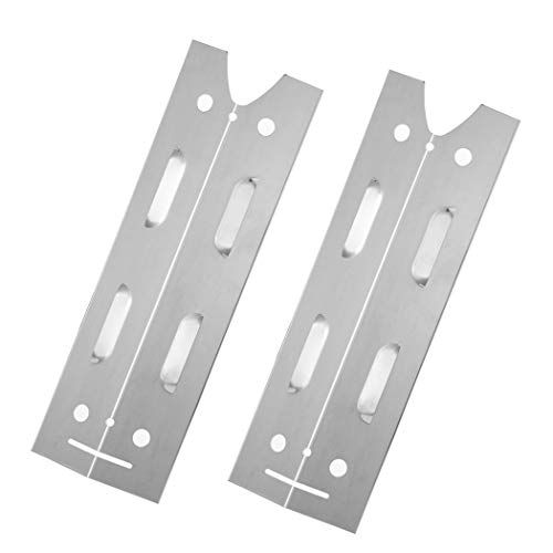 YIHAM KS722 Replacement Parts for Brinkmann Gas Grill Model 810-4220-S, Stainless Steel Heat Plate Shiled, Burner Cover Flame Tamer, 15 inch x 4 13/16 inch, Set of 2