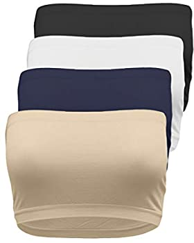 Bandeau Bra Seamless Wirefree Strapless Crop Tube Top Cleavage Coverup Set of 4  One Size 4 Packs  Black_White_Navy_Nude