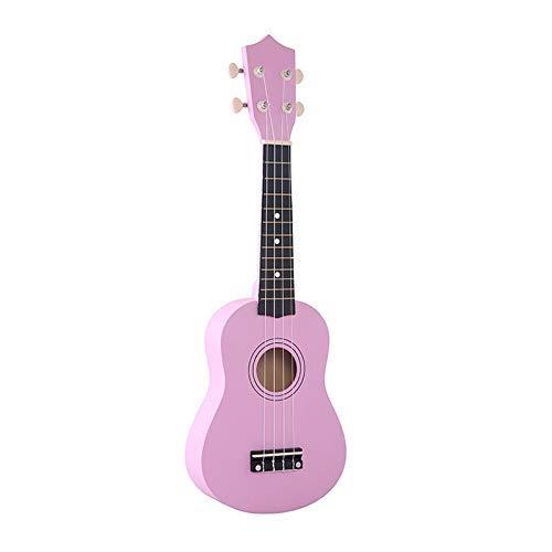 Dirgee 1Set Kinder Musikinstrument 21 Zoll Sopraner Ukulele 4 Saata Hawaiianische Gitarre Uke + String + Pick for Anfänger Kind Geschenk (Farbe: Mokka) (Color : Pink)
