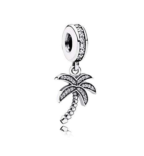MiniJewelry Palm Tree Dangle Charm for Bracelets Hawaii Vacation Tropical Island Sterling Silver Charm for Women, Cubic Zirconia