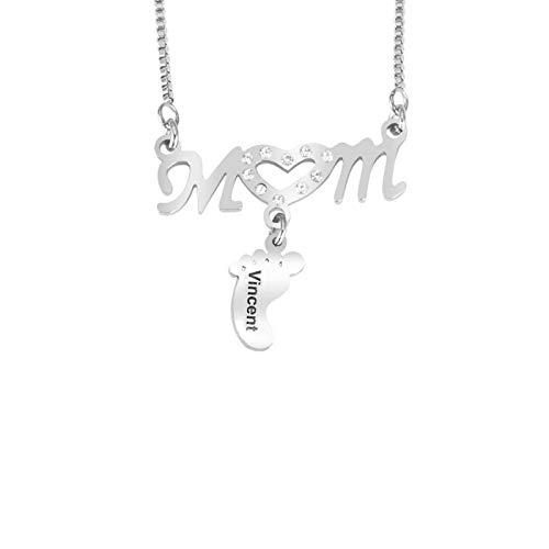JINGHE Collar Personalizado con Nombre De Huella para Mamá, Diamantes De Acero Inoxidable Moda Simple Pies De Bebé Grabados Personalizados con 1 Anillo De Nombre