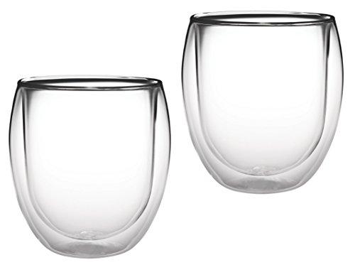 AKTION: 2x 320ml doppelwandiges Thermoglas mit Schwebe-Effekt, Teeglas / Kaffeeglas für Cappuchino, Milchkaffee, Tee, Eistee, Schorle, Desserts oder als Eisbecher geeignet, 32R by Feelino - 2
