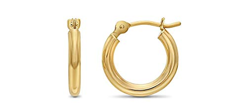 14k Yellow Gold Classic Shiny Polished Round Hoop Earrings, 2mm tube (12mm)